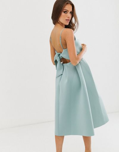 ASOS DESIGN bow back midi prom dress