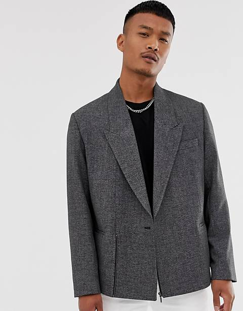 ASOS DESIGN boxy oversized cropped double breasted blazer in charcoal with zip