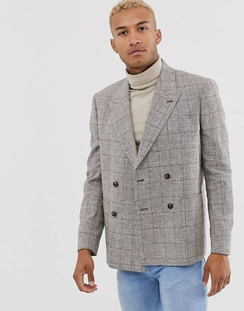ASOS DESIGN boxy oversized double breasted linen blazer with check in brown