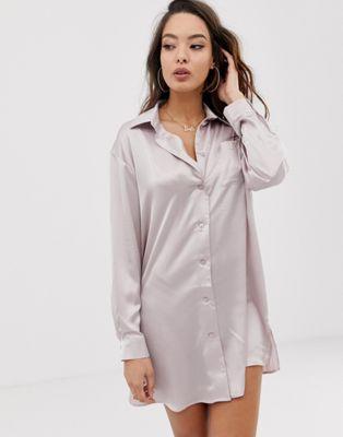 Bild 1 von ASOS DESIGN – Boyfriend-Hemdkleid aus Satin