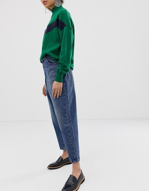 Immagine 1 di ASOS DESIGN - Boyfriend jeans larghi blu lavaggio medio invecchiato scuro