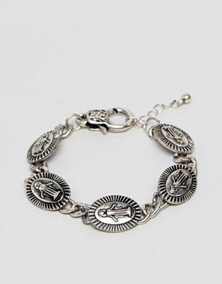 Image 1 sur ASOS DESIGN - Bracelet avec médaillon - Argent poli