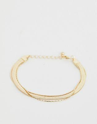 ASOS DESIGN - Bracelet multi-rangs en chaîne serpent plate style vintage - Doré
