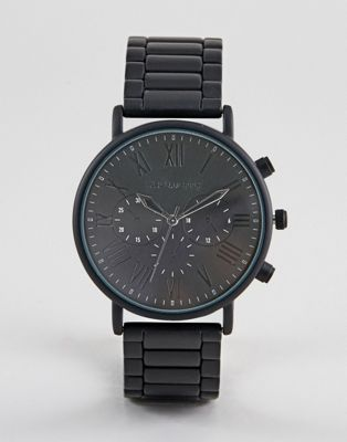 ASOS DESIGN Bracelet Watch In Matte Black With Roman Numerals