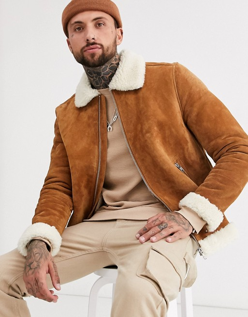 Herrenbekleidung – Braune Pilotenjacke aus Wildleder mit Teddyfutter in Ecru zHiPVBSH