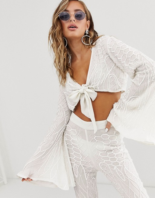 Image 1 of ASOS DESIGN bridal beach crop top with knot front in embellishment two-piece