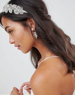 ASOS DESIGN Bridal Beaded Jewel Vine Headband