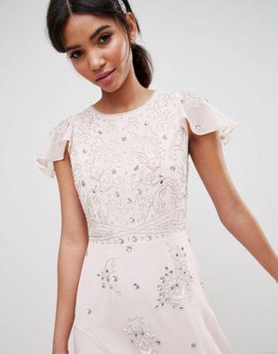 ASOS DESIGN bridesmaid embellished flutter sleeve maxi dress