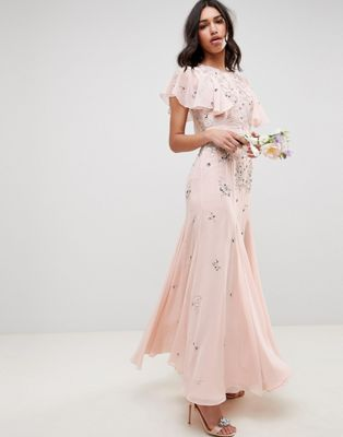 ASOS DESIGN bridesmaid embellished maxi dress with angel sleeve
