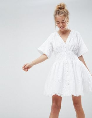 ASOS DESIGN broderie casual tea mini dress