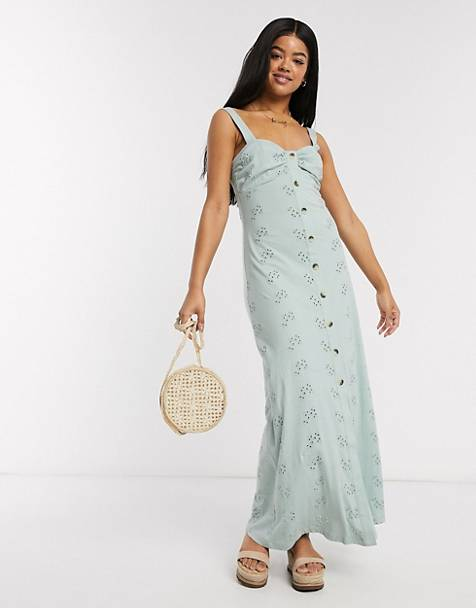 ASOS DESIGN broderie strappy button through maxi dress in mint