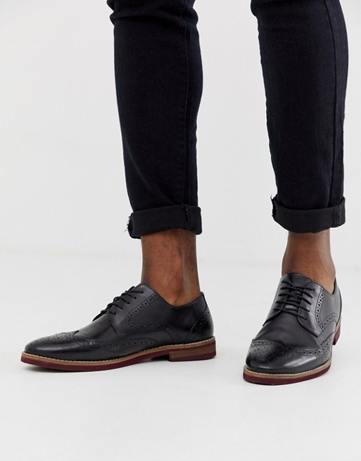 ASOS DESIGN brogue shoes in black leather with contrast sole