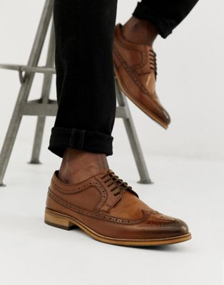 ASOS DESIGN brogue shoes in polished tan leather