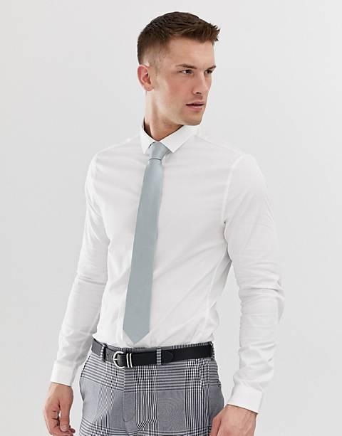 ASOS DESIGN - Bruiloft - Satijnen skinny overhemd in wit