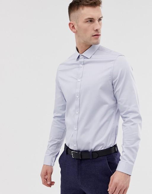 ASOS DESIGN - Bruiloft - Slim-fit overhemd van satinet in lichtblauw