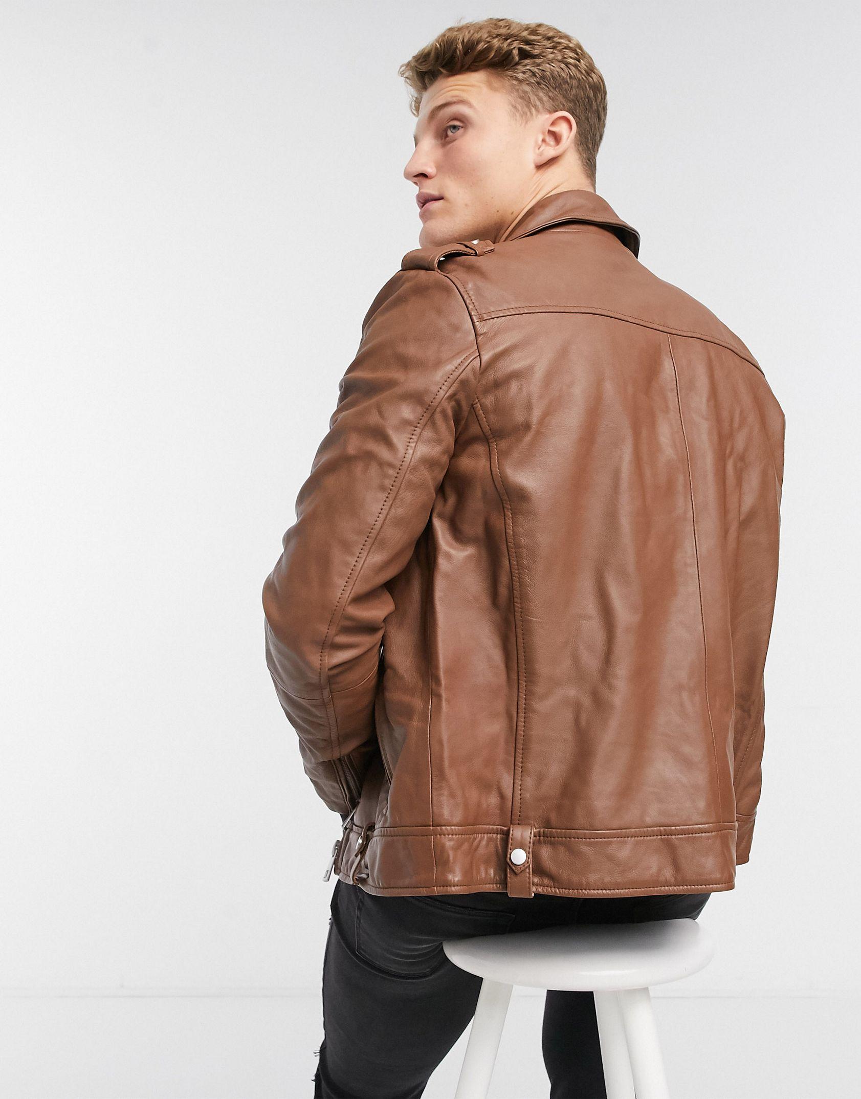 ASOS DESIGN leather biker jacket in tan -  Price Checker