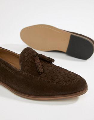 Bild 1 av ASOS DESIGN – Bruna loafers i mocka med vävda detaljer