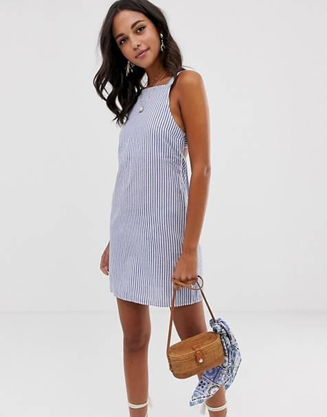 c6479fc475 ASOS DESIGN buckle back cotton mini sundress in stripe