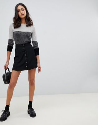 ASOS DESIGN button front mini skirt