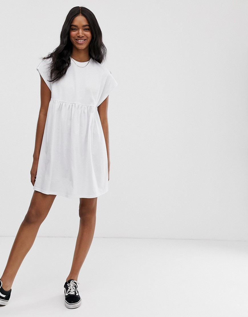 Asos Design Button Sleeve Mini Slubby Smock Dress by Asos Design