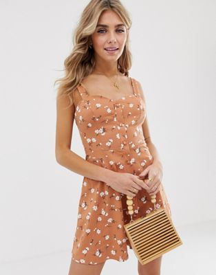 ASOS DESIGN button through floral mini sundress with tie back
