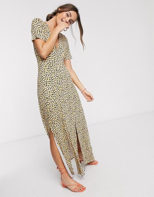 ASOS DESIGN button through maxi tea dress with splits in yellow ditsy print