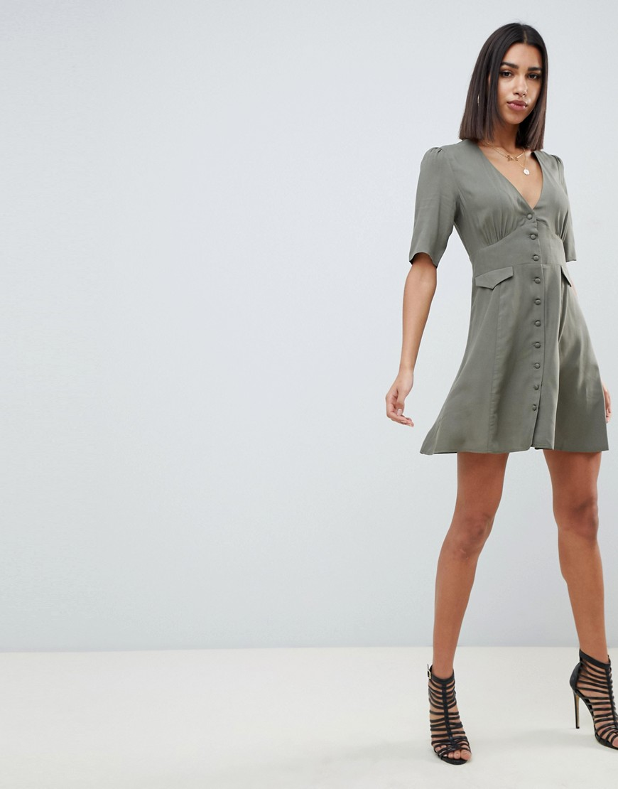 Asos Design Button Through Mini Skater Dress With Pockets by Asos Design