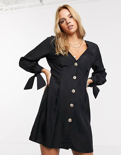 ASOS DESIGN button through mini skater dress with tie sleeves