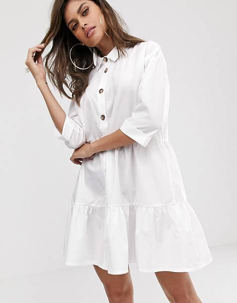 ASOS DESIGN button through tiered mini smock dress