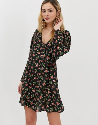 Image 1 of ASOS DESIGN button through trapeze mini dress with long sleeves in ditsy floral
