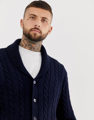 ASOS DESIGN cable cardigan in navy