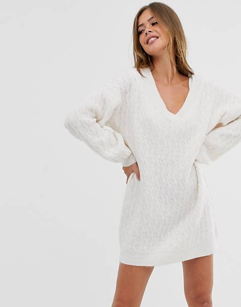 ASOS DESIGN cable mini sweater dress with v neck