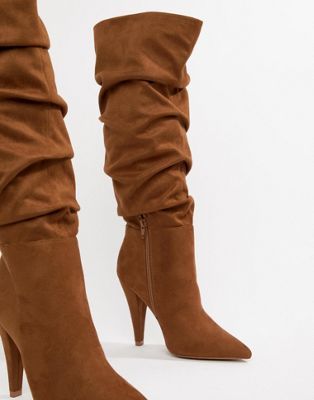ASOS DESIGN Callie ruched knee high boots