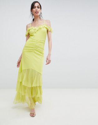 ASOS DESIGN cami dobby bardot ruffle fishtail maxi dress