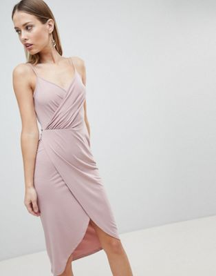 Image 1 of ASOS DESIGN cami drape cowl back slinky midi dress