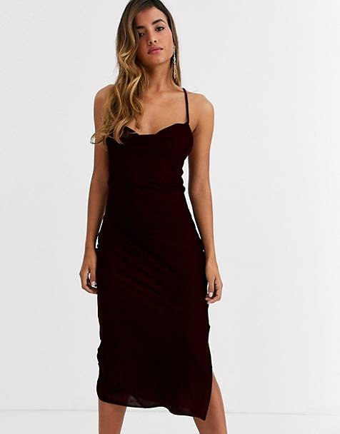 ASOS DESIGN cami midi slip dress in velvet with lace up back