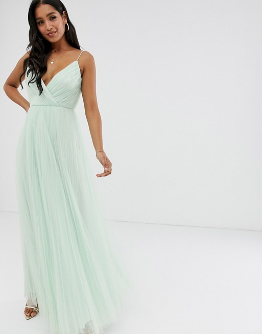 Image 1 of ASOS DESIGN cami pleated tulle maxi dress