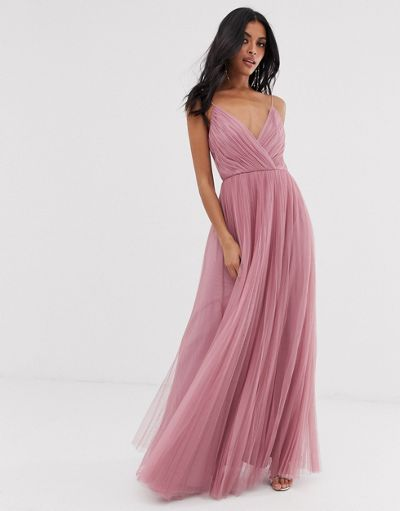 ASOS DESIGN cami pleated tulle maxi dress