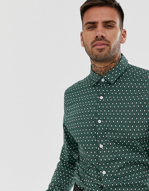 Rombi Slim Elasticizzata Fiorellini Da A Stampa Asos Camicia Con Design Elegante Verde Ufficio wxOwzSqUI