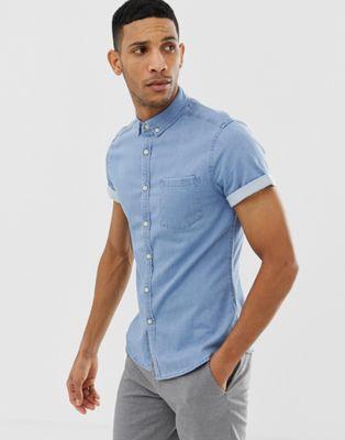ASOS DESIGN - Camicia di jeans slim elasticizzata lavaggio candeggiato