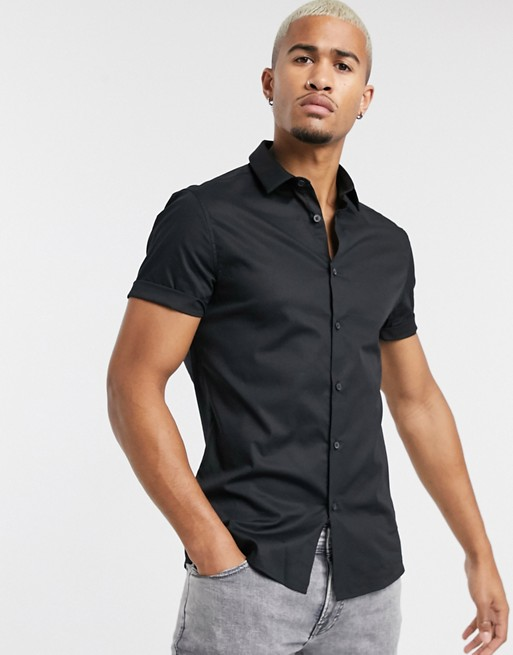 ASOS DESIGN - Camicia stretch skinny a maniche corte nera