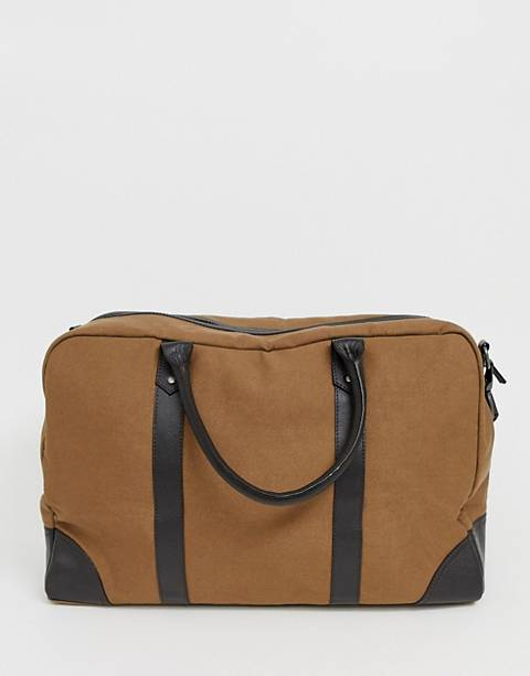 ASOS DESIGN canvas holdall in tan with brown double straps