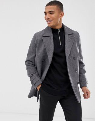 ASOS DESIGN - Cappotto stile marinaio in misto lana grigio chiaro