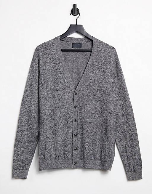 ASOS DESIGN - Cardigan in cotone lavorato grigio mélange