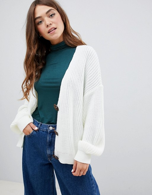 ASOS DESIGN cardigan with chunky buttons
