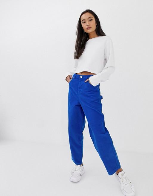 Image 1 of ASOS DESIGN Carpenter boyfriend jeans in pop blue cord