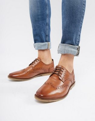 ASOS DESIGN casual brogue shoes in tan leather with natural sole