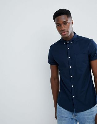 ASOS DESIGN casual slim fit oxford shirt in navy