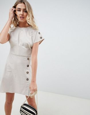 ASOS DESIGN casual twill mini dress with button detail