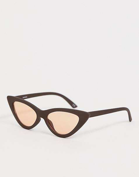 ASOS DESIGN cat eye sunglasses with light orange lens
